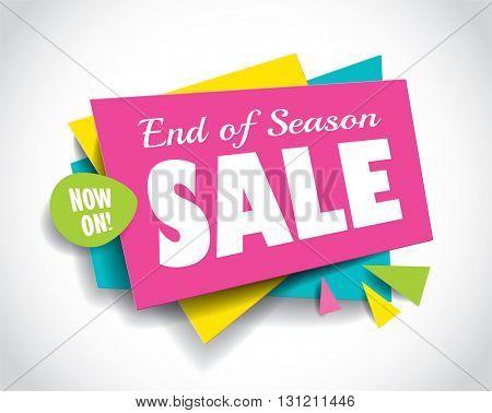 End of Season Sale concept vector banner. sale layout design. Vector illustration.