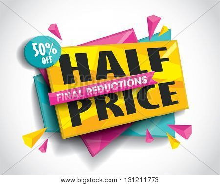 Half Price Sale layout design with abstract triangle elements. Vector illustration