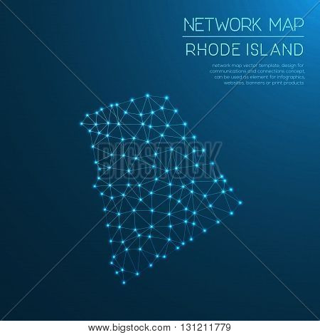 Rhode Island Network Map. Abstract Polygonal Us State Map Design. Internet Connections Vector Illust