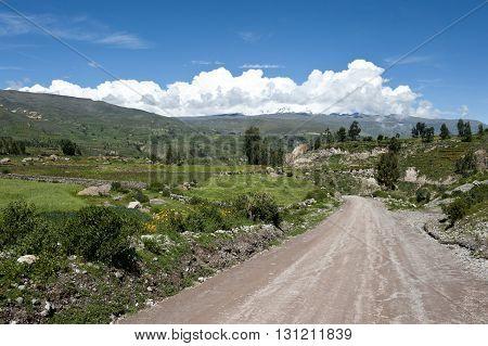 A Peruvian roadway near Arequipa Peru near Chivay on a sunny day.