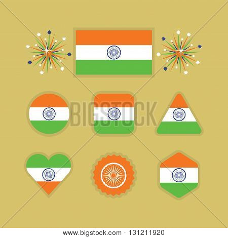 Indian national flag icons set in different shapes on golden background