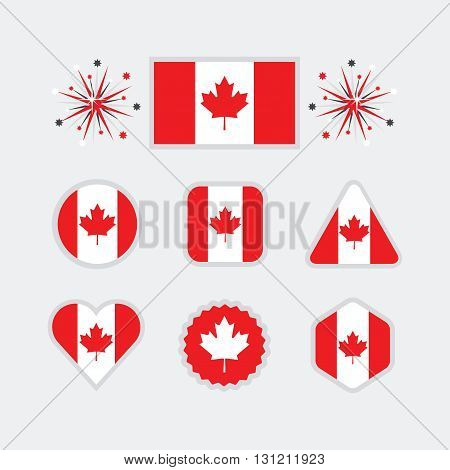 Canadian national flag icons set in different shapes on modern gray background