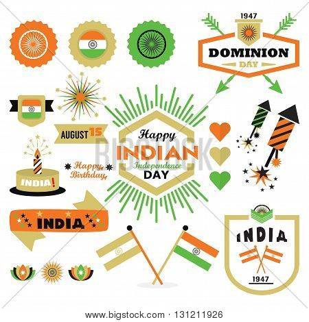 Happy Indian Independence Day design elements set on white background