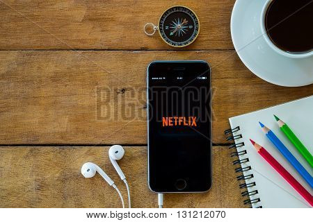 CHIANGMAI THAILAND -MAY 15 2016: Netflix apps showing on iphone 6s.Netflix is an American provider of on-demand Internet streaming media available founded in 1997 by Marc Randolph and Reed Hastings