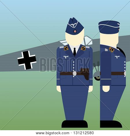 Military aircraft and military pilots of the Wehrmacht in World War II. The illustration on a white background.