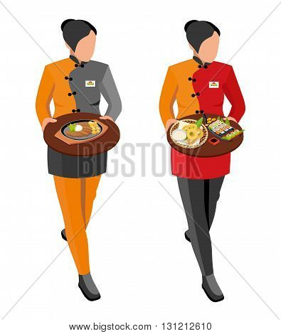 Japanese seafood restaurant vector. Flat illustration. Waitress girl in uniform holding trays of Japanese dishes: meat and potatoes, sushi set, grilled squid and soy sauce, isometric illustration