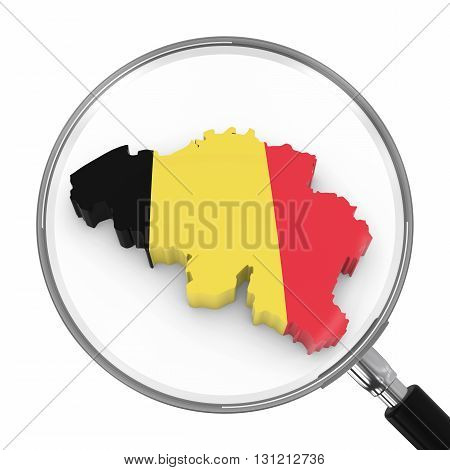 Belgium Under Magnifying Glass - Belgian Flag Map Outline - 3D Illustration