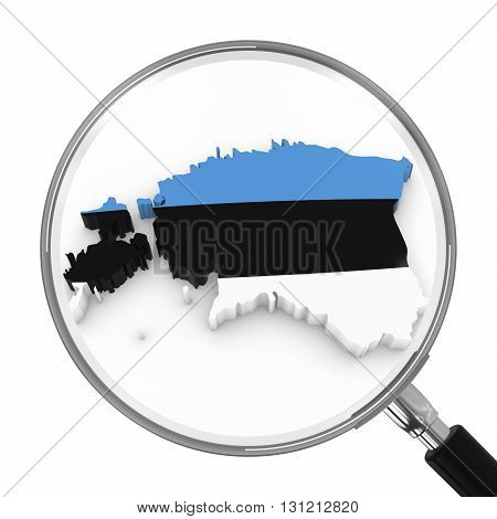 Estonia Under Magnifying Glass - Estonian Flag Map Outline - 3D Illustration