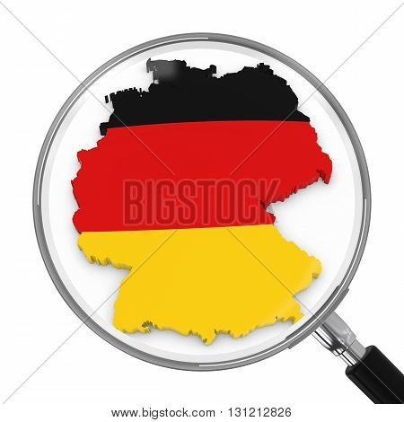 Germany Under Magnifying Glass - German Flag Map Outline - 3D Illustration