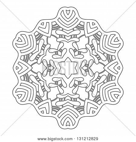 Linear round decorative ornament for coloring books. Black and white pattern. Lace, snowflake isolated on white background.