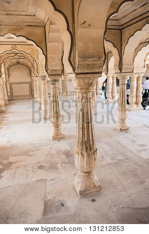 View of the beautifully architectured 27 offices of the Diwan-e-Aam inside Amber Fort in Jaipur, Rajasthan. Crafted magnificently, this was used as office of the Maharajas.