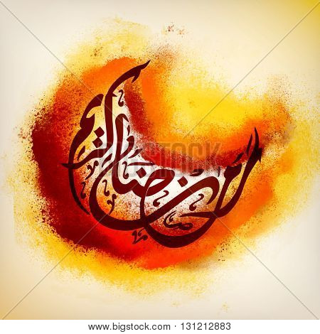 Stylish Arabic Calligraphy text Ramadan Kareem in Crescent Moon Shape with colourful splash for Holy Month of Muslim Community Celebration.