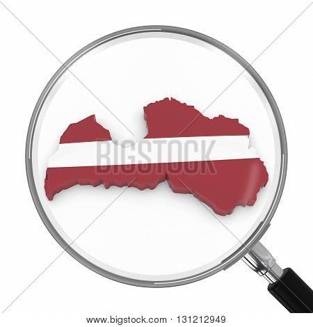 Latvia Under Magnifying Glass - Latvian Flag Map Outline - 3D Illustration