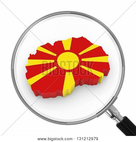 Macedonia Under Magnifying Glass - Macedonian Flag Map Outline - 3D Illustration