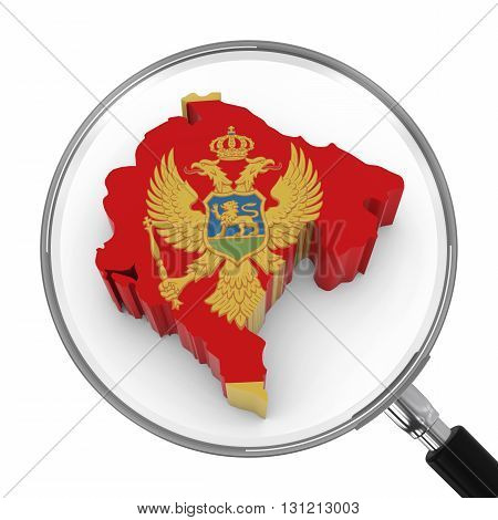 Montenegro Under Magnifying Glass - Montenegrin Flag Map Outline - 3D Illustration