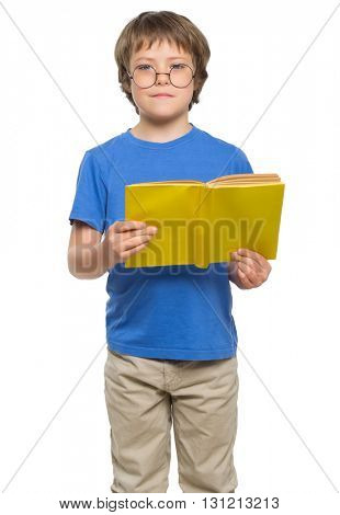 Little boy with glasses and books isolated