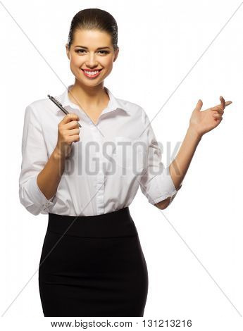 Young businesswoman with pen isolated