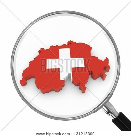 Switzerland Under Magnifying Glass - Swiss Flag Map Outline - 3D Illustration