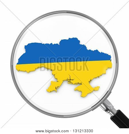 Ukraine Under Magnifying Glass - Ukrainian Flag Map Outline - 3D Illustration