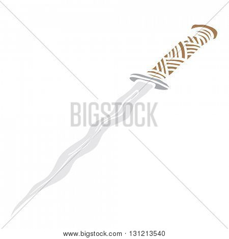 dagger knife cartoon illustration isolated on white