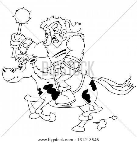 black and white angry horseman cartoon
