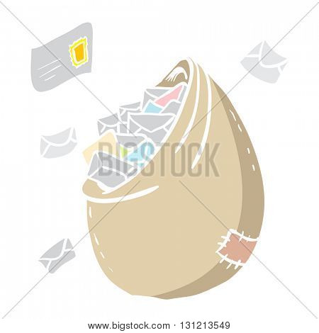 bag full with letters cartoon illustration