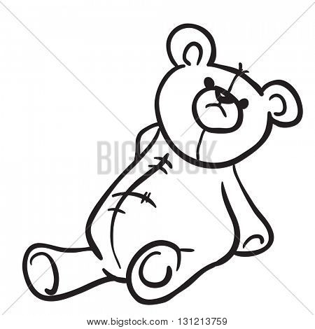 black and white bear toy cartoon