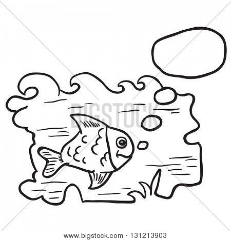 black and white fish in water cartoon