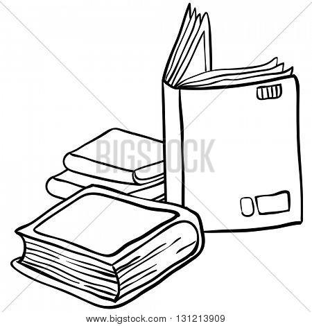 black and white books cartoon