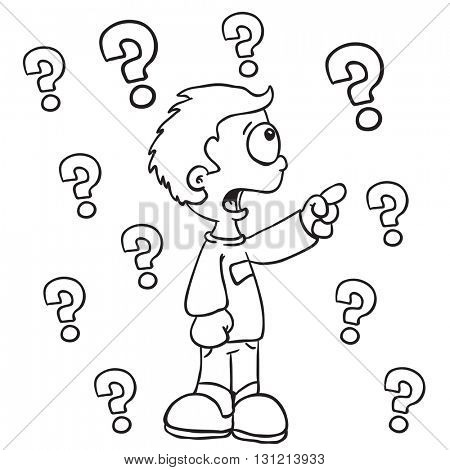 black and white boy with questions cartoon