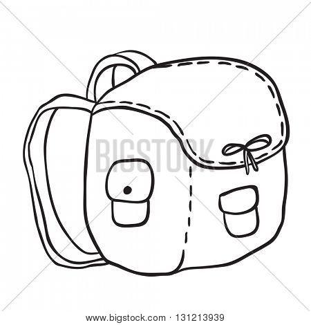 black and white camping bag cartoon
