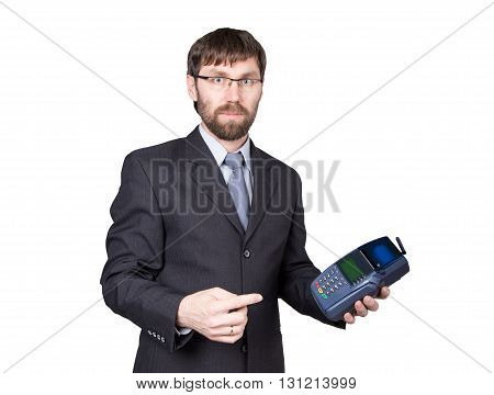 Payment with credit card - businessman holding pos terminal. isolated on white background.