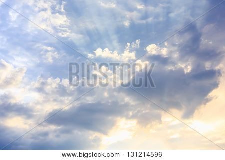 Beautiful landscape with the sun in the clouds.