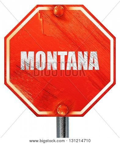 montana, 3D rendering, a red stop sign