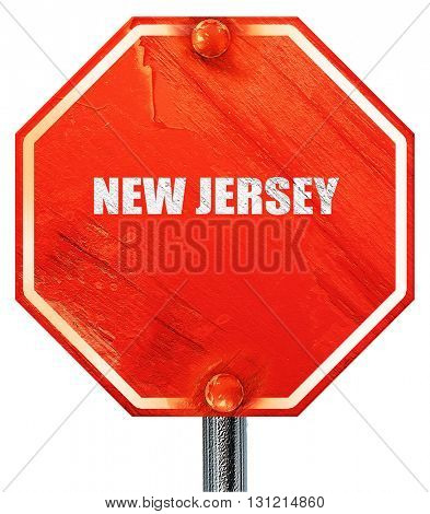 new jersey, 3D rendering, a red stop sign