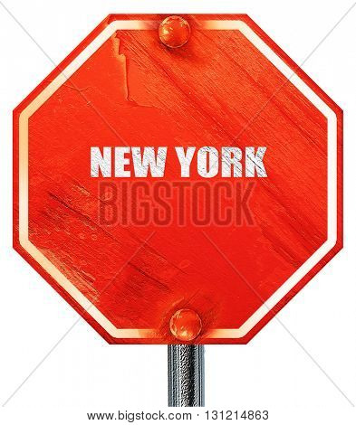 new york, 3D rendering, a red stop sign