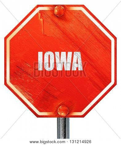 iowa, 3D rendering, a red stop sign
