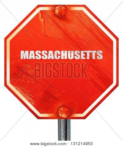 masschusetts, 3D rendering, a red stop sign