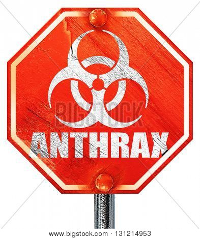 Anthrax virus concept background, 3D rendering, a red stop sign