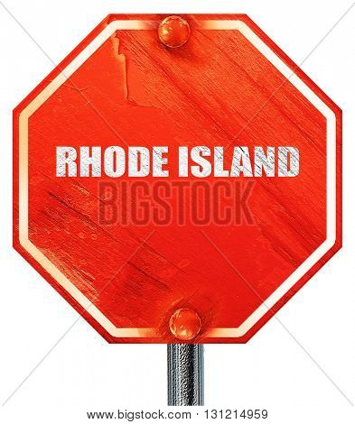 rhode island, 3D rendering, a red stop sign