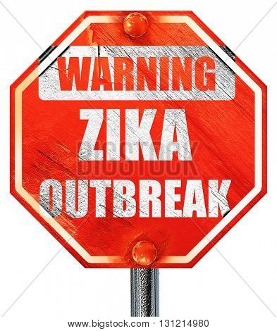 Zika virus concept background, 3D rendering, a red stop sign