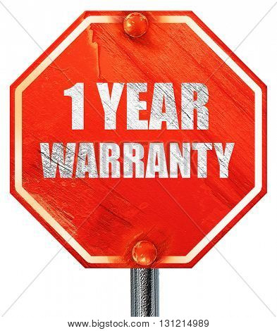 1 year warranty, 3D rendering, a red stop sign