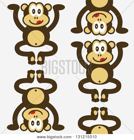 seamless cute little monkey pattern on white background