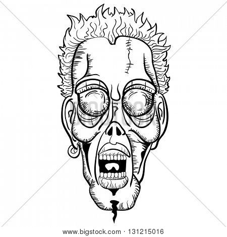 black and white zombie face cartoon