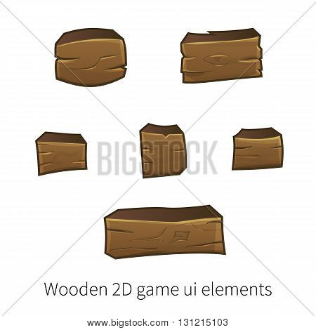 Vector set of graphical user interface UI GUI for 2d video games. Wooden buttons for menu.