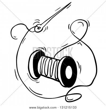 black and white reel with thread and needle cartoon