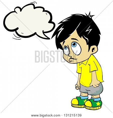 sad boy with speech bubble cartoon illustration
