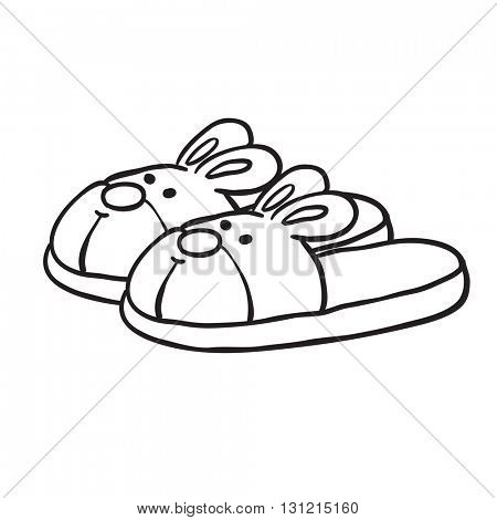 black and white bunny slippers cartoon
