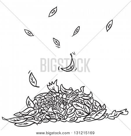 black and white pile of leaves cartoon illustration