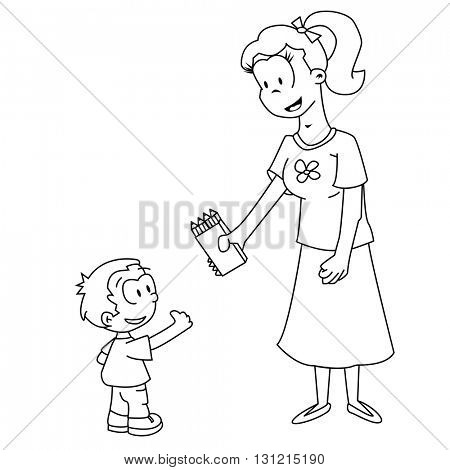 mom is giving to her son pack of pencils cartoon illustration